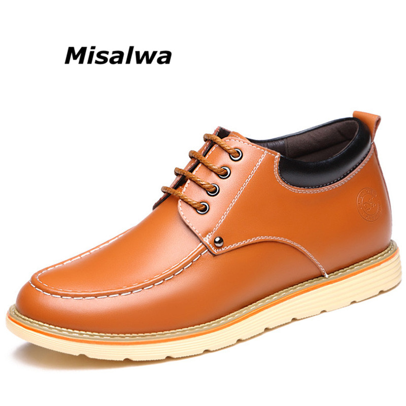 Misalwa Men Elevator Casual Shoes 2018 Spring Autumn Men Genuine Leather Leisure Shoes British Fashion Men Height Increas Flats