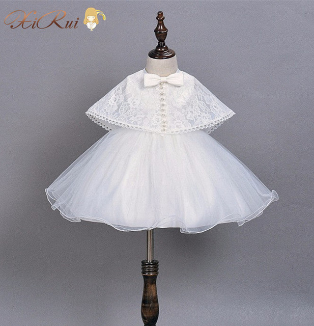 Newest Infant Baby Girl Dress White 1 year Birthday Dress With Lace Shawl Kids Wedding Party Dresses Little Girl Clothes 0-2Y