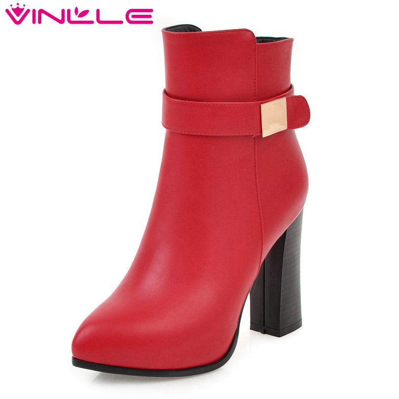 VINLLE 2018 Women Boots Autumn Winter Shoes Ankle Boots Zipper Square High Heel Ladies Motorcycle Shoes Size 34-43 2017 pink shoes woman pu leather square high heel ankle boots zipper women winter shoes ladies motorcycle boots size 33 43