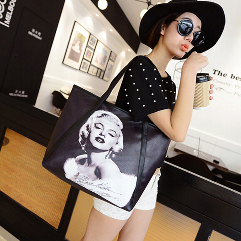 2016 New Fashion Women's Large Capacity Bag 3D Print Marilyn Monroe - Handtassen - Foto 4