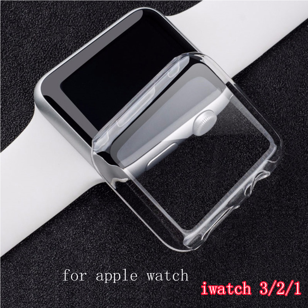Silicone Soft Protector case cover for apple watch band 42mm 38mm Ultra-thin Clear shell for iwatch 3/2/1 Watch case Accessories tpu clear slim soft case cover 38 42mm cover screen protector film accessories for apple watch 1 2 3