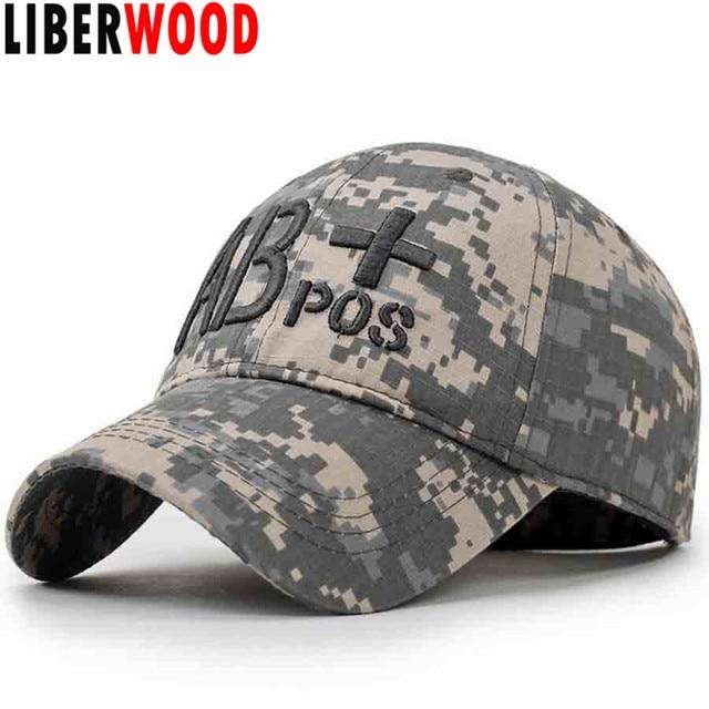 LIBERWOOD Camouflage Operator Tactical Cap Camo Baseball Caps Hats blood  type AB+ positive army Cap Hunting Combat Shooting cap 88c7c7d74ed