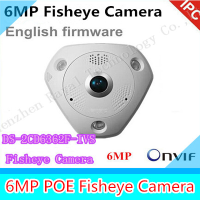 fast DHL free shipping DS-2CD6362F-IVS 6MP 360 Degree panoramic view IP66 fisheye ip camera CCTV security Camera