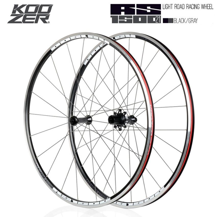 KOOZER RS1500 Road Bike 700C Wheelset Front 2 Rear 4 Bearing 72 Ring 21MM Rim 2:1 Spoke Wheels(China)