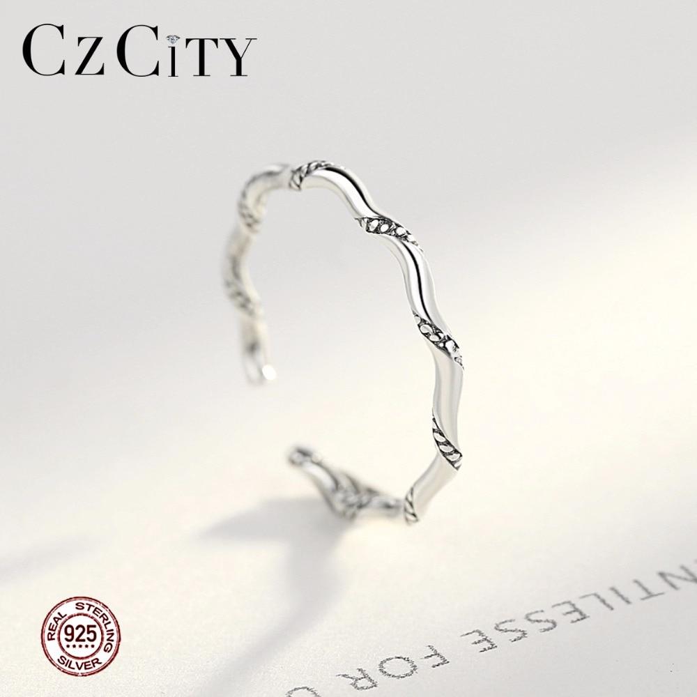 CZCITY Cuff üzüklər Vintage Orijinal 925 Sterling Gümüş üzük, - Gözəl zərgərlik - Fotoqrafiya 2