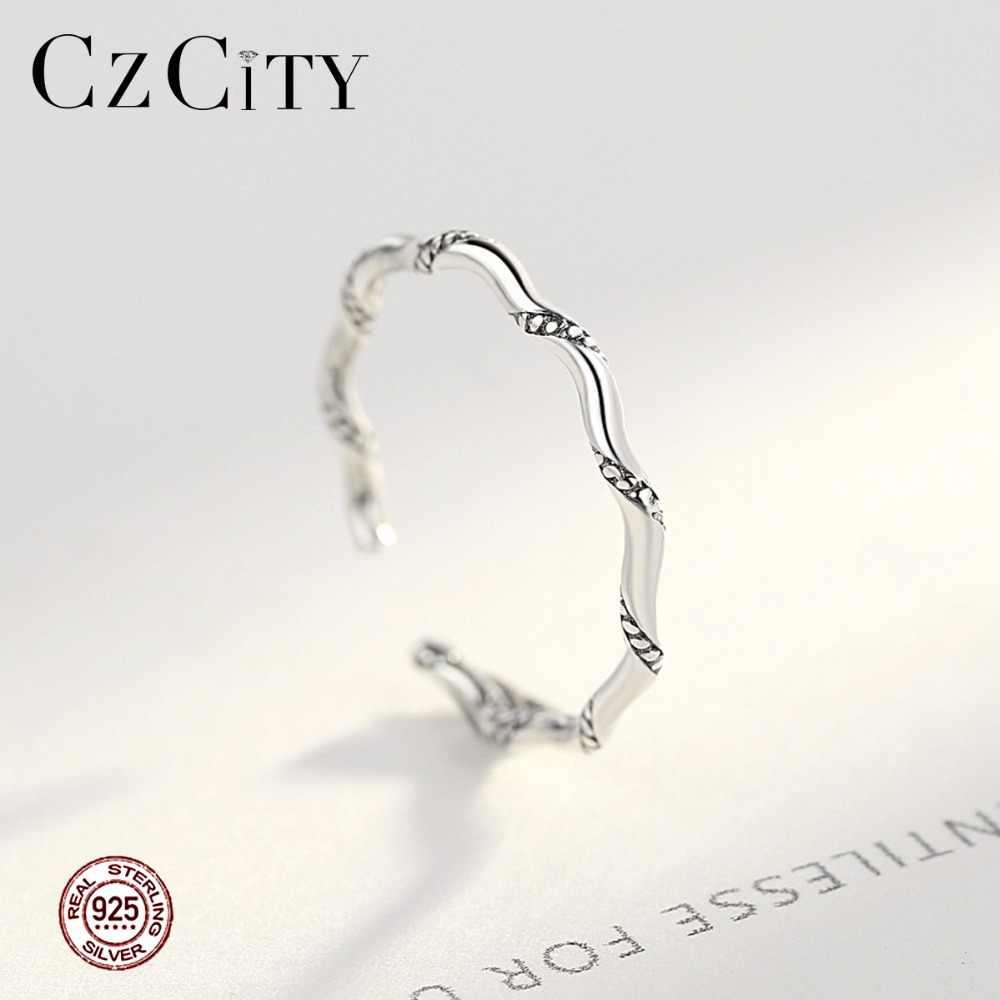 CZCITY Cuff แหวน VINTAGE ของแท้ 925 แหวนเงินสเตอร์ลิงสำหรับสตรี Twisted SPIRAL STACKABLE ผู้หญิงเครื่องประดับของขวัญวันแม่
