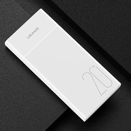 USAMS 20000 мАч Быстрая зарядка банка мощности для Xiaomi Mi 20000 мАч повербанк для iPhone зарядное устройство Внешний аккумулятор зарядное устройство Банк мощности - Цвет: White