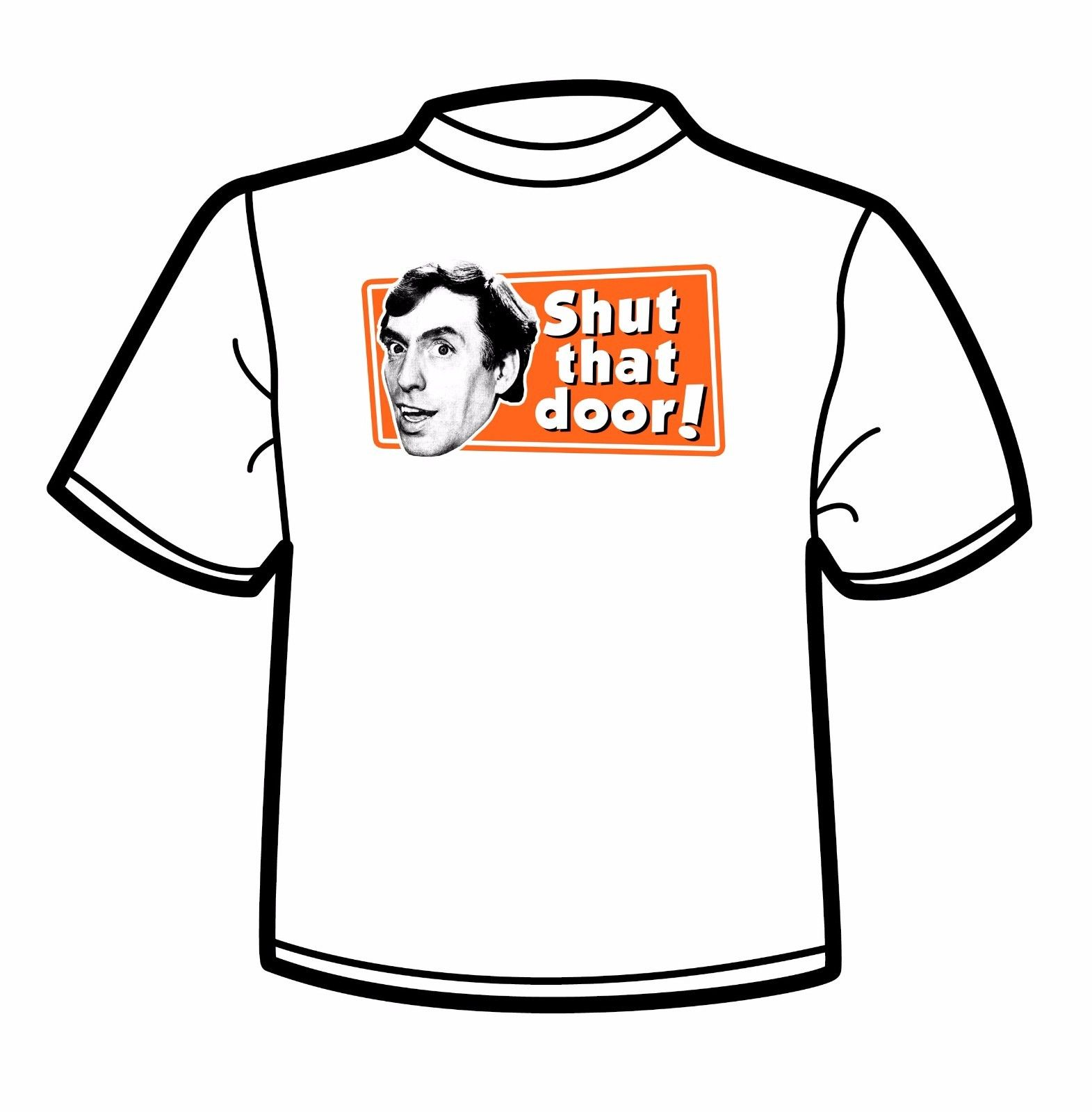 Larry Grayson Catchphrase White T Shirt Shut That Door Generation Game Print T Shirt Mens Short Sleeve Hot Tops Tshirt in T Shirts from Men 39 s Clothing