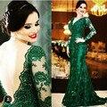 Esmeralda Verde de La Sirena Madre de los Vestidos de Novia de Encaje más el tamaño V Cuello Largo Mangas de Espalda Tren de la Corte vestido de madrina