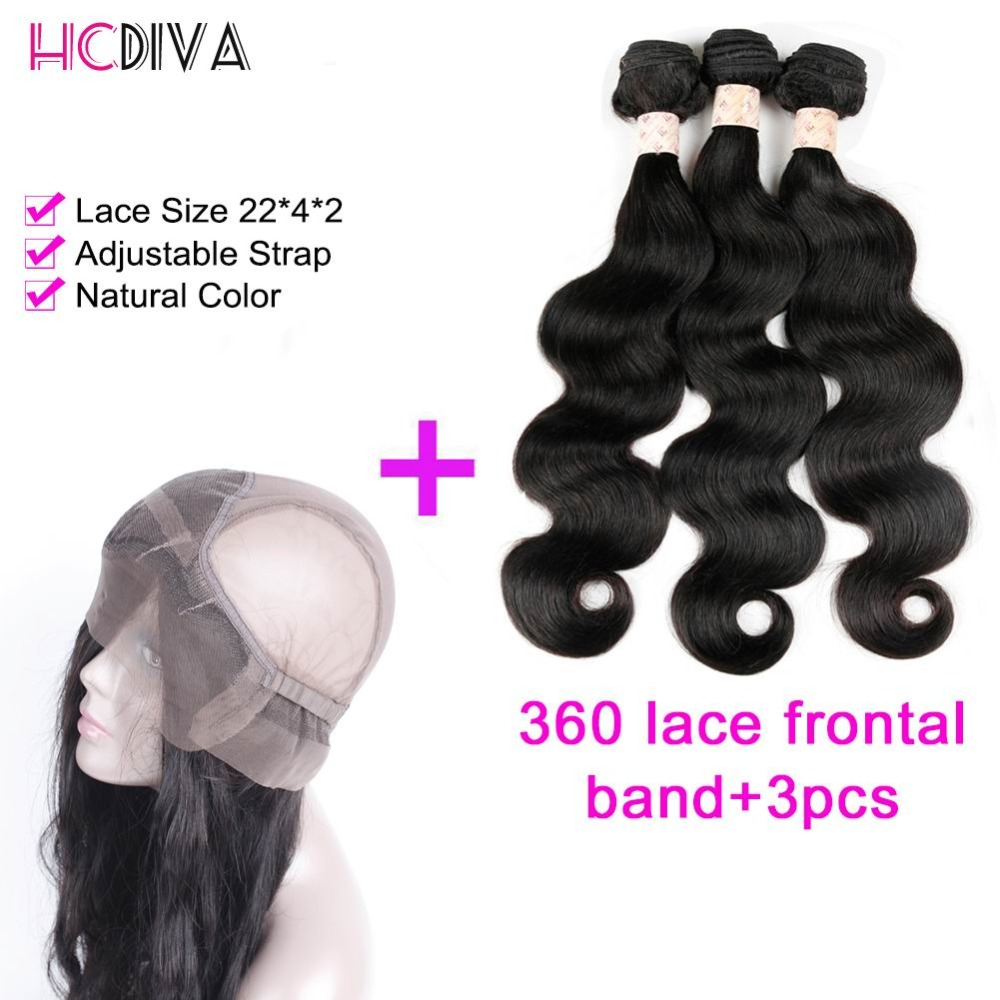 360 lace frontal closure with bundles Body wave Brazilian