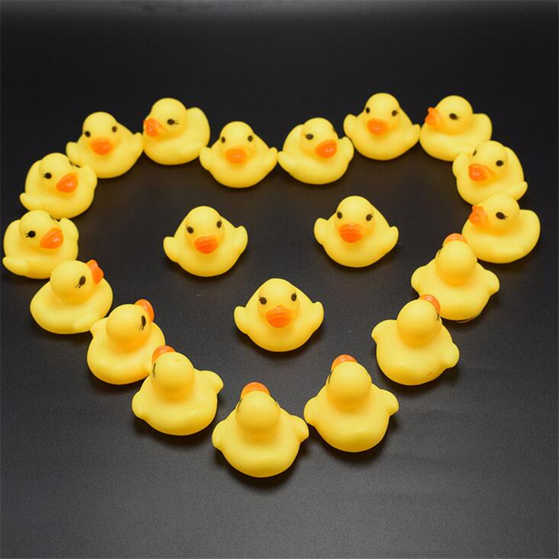 100 Pcs/lot Kawaii Baby Floating Squeaky Rubber Ducks Kids Bath Toys for Children Boys Girls Water Swimming Pool Fun Playing Toy