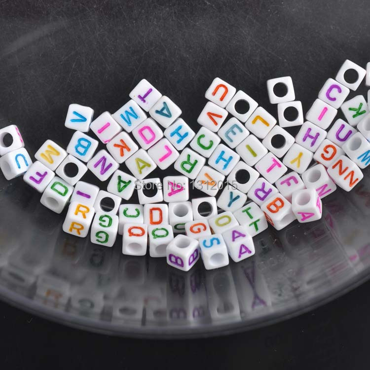 6mm DIY Jewellery Craft Beading Mixed Colours Alphabet Letter Cube Beads