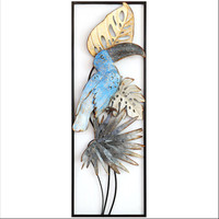 Bird Flower Iron Cage Wall Hanging Mural Home Furnishing Crafts Decor 3D Stereo Office House Background Wall Sticker Decor R1201