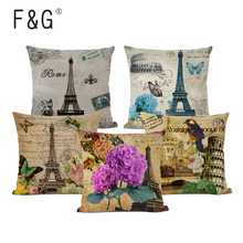 45x45cm Cotton Linen Cushion Cover Retro Vintage Franch Paris Eiffel Tower Pillow Car Sofa Throw Pillowcase Home Decor