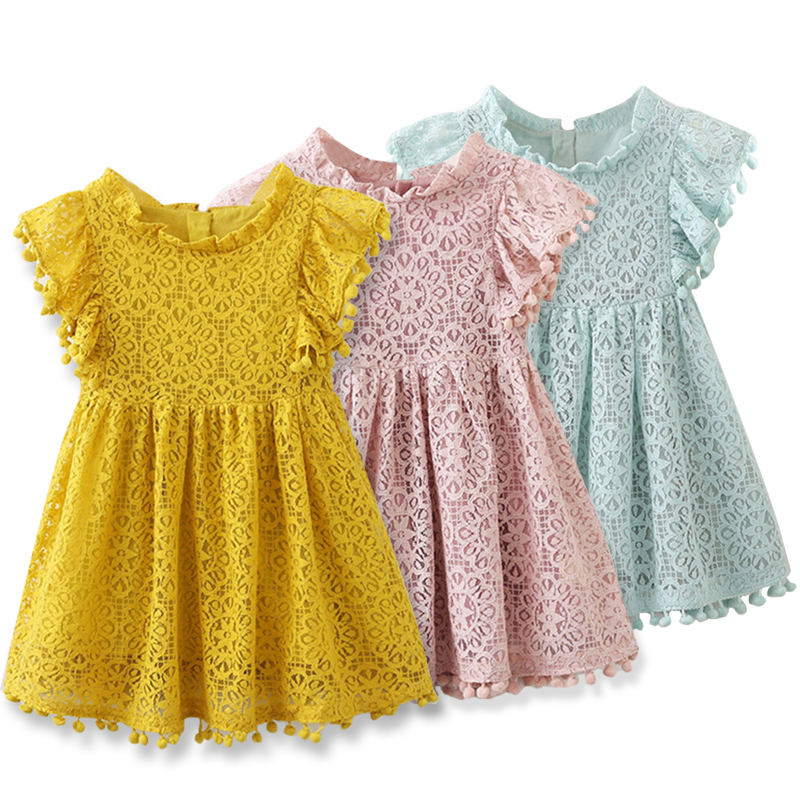 2019 Summer Brand New Baby   Girls   Clothes Princess Lace   Flower     Girls     Dress   Summer Children Party Kids   Dresses   For   Girls   2-7 Years