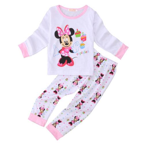 Cute infant baby boy girl clothes long sleeve cartoon print Sleepwear   pajama     set   Cotton Nightwear Pyjamas   set
