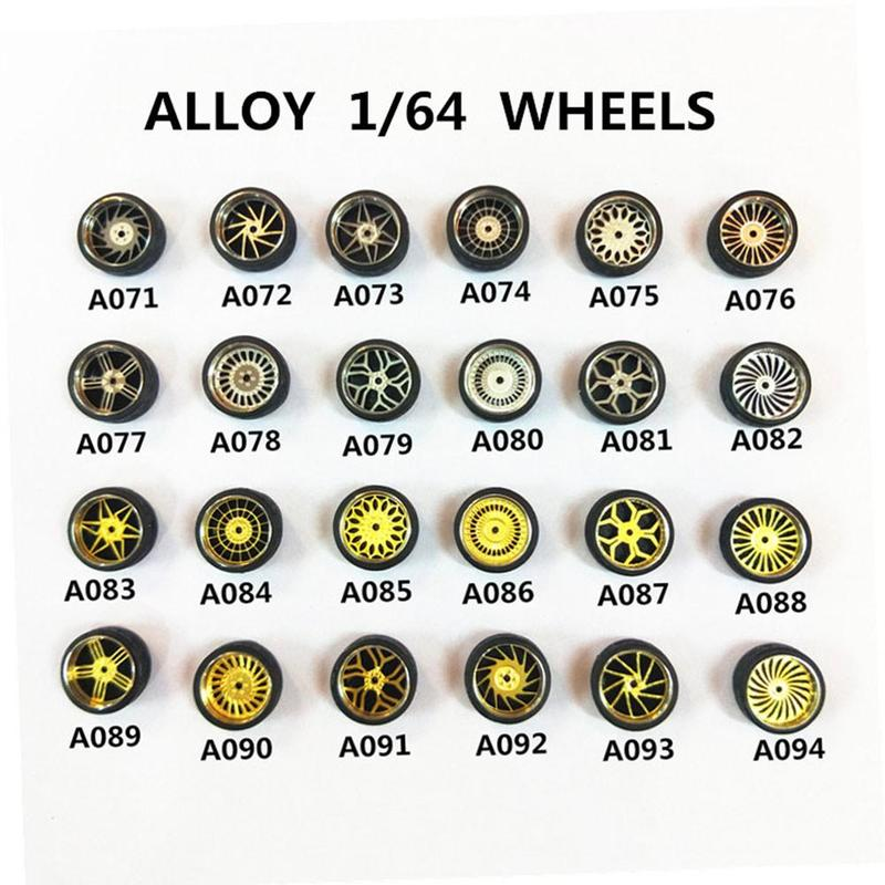4wheels +2axles +4end Caps 1:64 Model Modified Tire Diecasts Alloy Wheel Tire Rubber Vehicles General Model Car Change Accessory