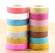 купить 7pcs/set Glitter Washi Tape Set Japanese Stationery Scrapbooking Christmas Decorative Tapes Adhesive glitter tape lot  по цене 494.23 рублей