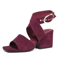 PLUS SIZE 41 42 43 Summer Shoes Woman 2018 Women's Sandals ~Square Heel Sandals Gladiator~Cross tied Sandal High Heels