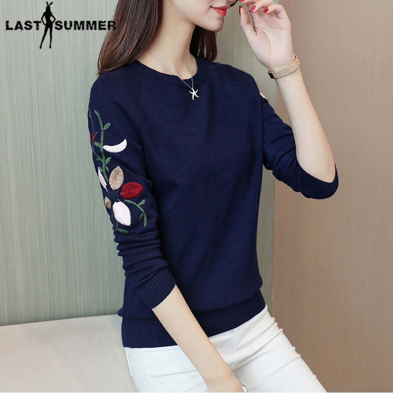 New  Fashion 2019 Women Autumn Spring  Embroidery Flower Sweater Pullovers Casual Warm Female Knitted Sweaters Pullover  Lady