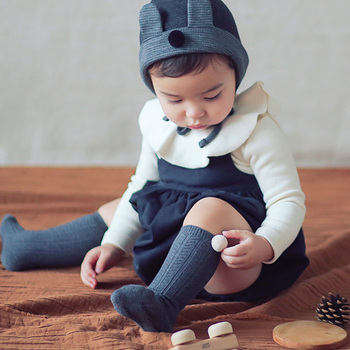 Cotton Baby Socks with Pompom Knit Knee-High