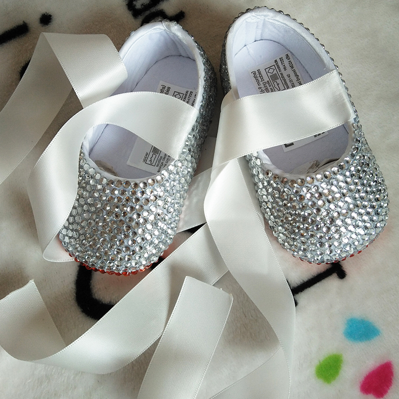 free shipping red Crystal ribbon silver rhinestone Baby Girl's shoes handmade Bling Bling diamond soft First Walkers kids shoes
