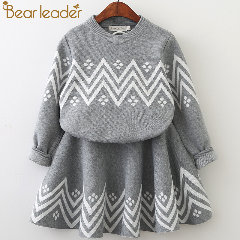 HTB1kyVzfvMTUeJjSZFKq6ygopXad Bear Leader Girls Dress 2019 Winter Geometric Pattern Dress Long Sleeve Girls Clothes Top Coat+ Tutu Dress Sweater Knitwear 2pcs