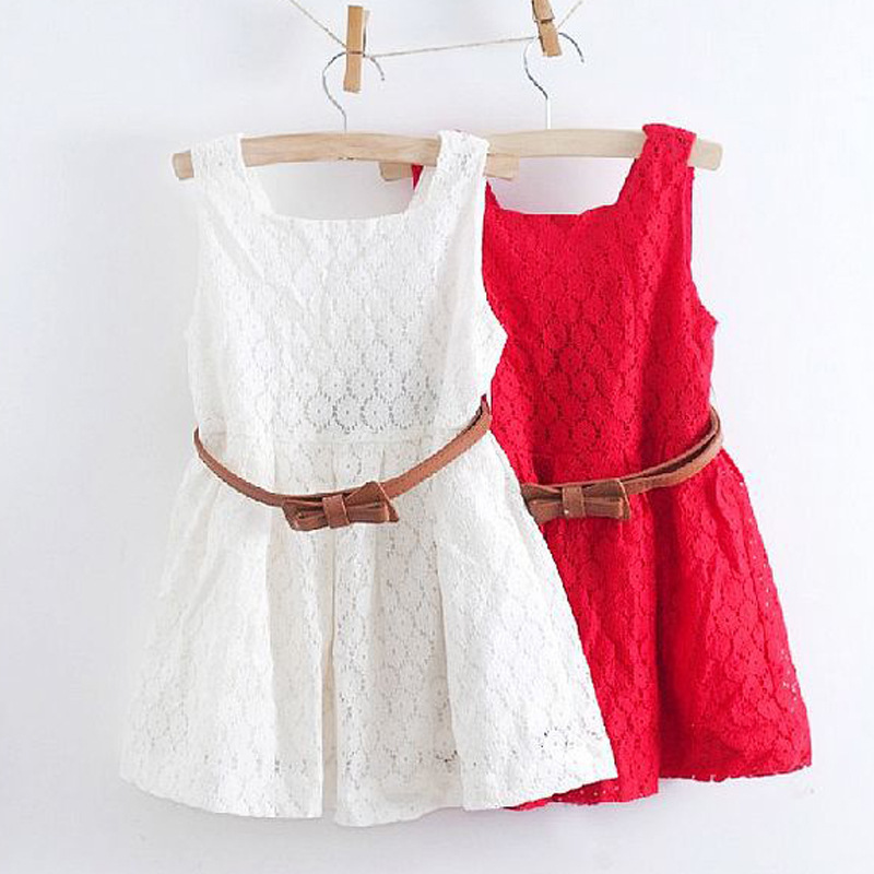 2018 Sommar Lace Vest Girls Klänning Baby Girl Princess Dress 2-8 Years Barn Kläder Kids Party Kläder För Girls Free Belt