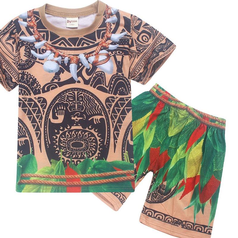 NEW Kid Boys Halloween Maui Moana Fancy Cool Costume Child Summer Cotton T-shirt Shorts Fancy Blue Pyjamas Gift For Child 4-10Y