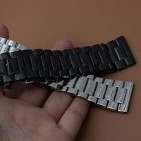 Polido pulseira new Watch band 18mm 20mm 22mm 24mm 26mm 28mm 30mm Preto Faixa de Relógio de Aço Inoxidável Mens Pulseiras De Metal cinta