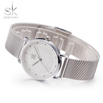 Shengke Brand Quartz Wrist Watches Texture Watches Women Casual Dress Luxury Sliver Ladies Rhinestone Waterproof Reloj Mujer SK image