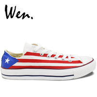 Wen Custom Design White Low Top Shoes Hand Painted Puerto Rico Flag Athletic Lace Up Sneakers Platform Plimsolls Flat for Gifts