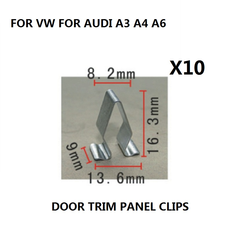x10 Pieces FOR VW FOR AUDI A3 A4 A6 BOOT TRIM PANEL LINING METAL SPRING CLIPS INTERIOR CLIP NEW
