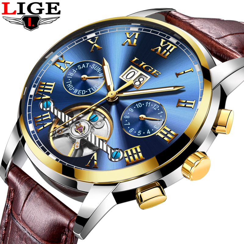 LIGE Top Brand Luxury Mens Watches Automatic Mechanical Watch Men Leather Business Waterproof Sport Watches Relogio Masculino unique smooth case pocket watch mechanical automatic watches with pendant chain necklace men women gift relogio de bolso