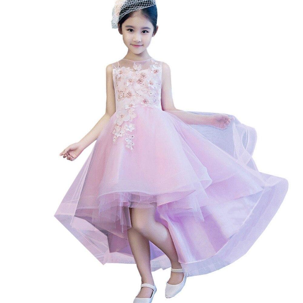 Children's Dress Girls Princess Dress Birthday Flower Girl Tail Wedding Dress Piano Catwalk Show Costumes