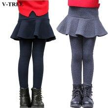 V-TREE Thicken Fleece Girls Leggings Autumn Winter Girls Clothing Velvet Pant Skirt For Girl School Teenagers Kids Pants 2-8T