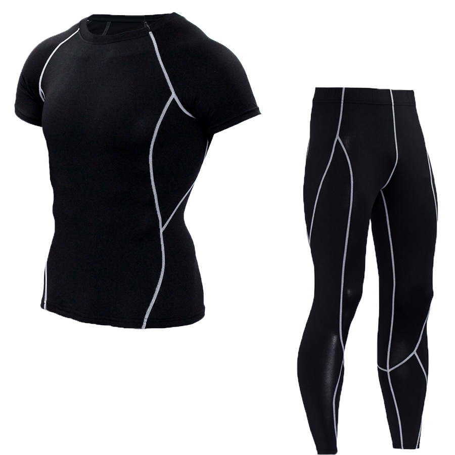 Men Quick Dry Trainning Exercise MMA Gym Sport T Shirt Pant Sets Mens Compression Bodybuilding Fitness Male Survetement Sets
