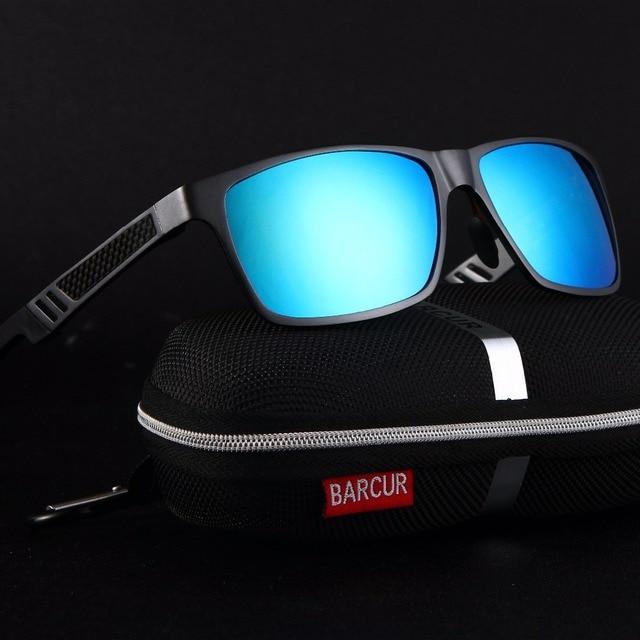 BARCUR TOP Quality Sunglasses Square Polarized Black Sunglasses Male Driving Sun Glasses Gafas oculos de sol masculino