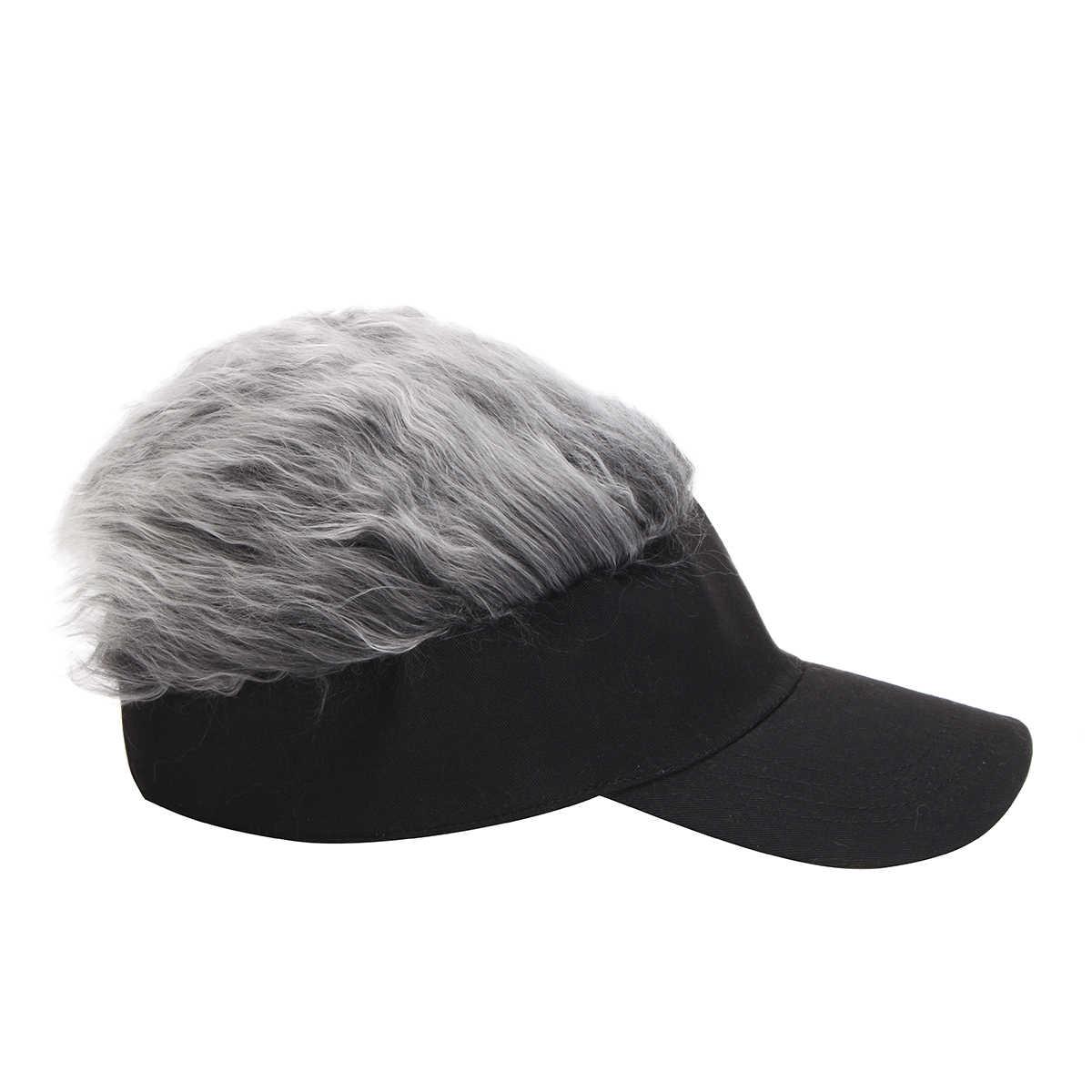 125c8f4246e ... Newest Novelty Baseball Cap Wig Cap Women Men Fake Flair Hair Visor Sun  Hat Toupee Funny ...