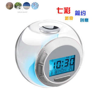 Free Shipping 5 Pieces/Lot New Creative Natural Sound 7 Color Changing Light Alarm Clock Temperature Clock