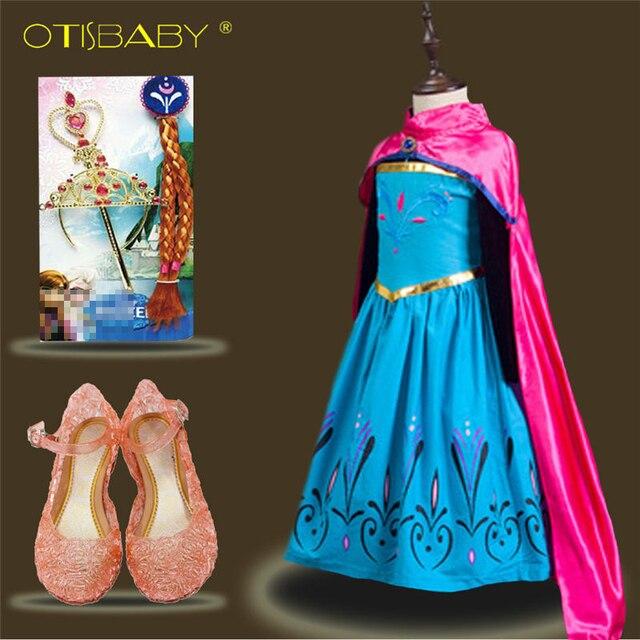 b419c08a1 Зима Весна Детские Обувь для девочек Эльза Анна лихорадка платье детское  платье принцессы Длинный плащ Обувь