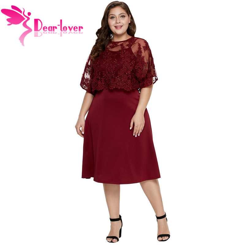 bfbe845624 US $30.56 41% OFF|Dear Lover New Summer Elegant Burgundy Plus Size Women  Midi Party Dress with Embroidery Cape LC220619-in Dresses from Women's ...
