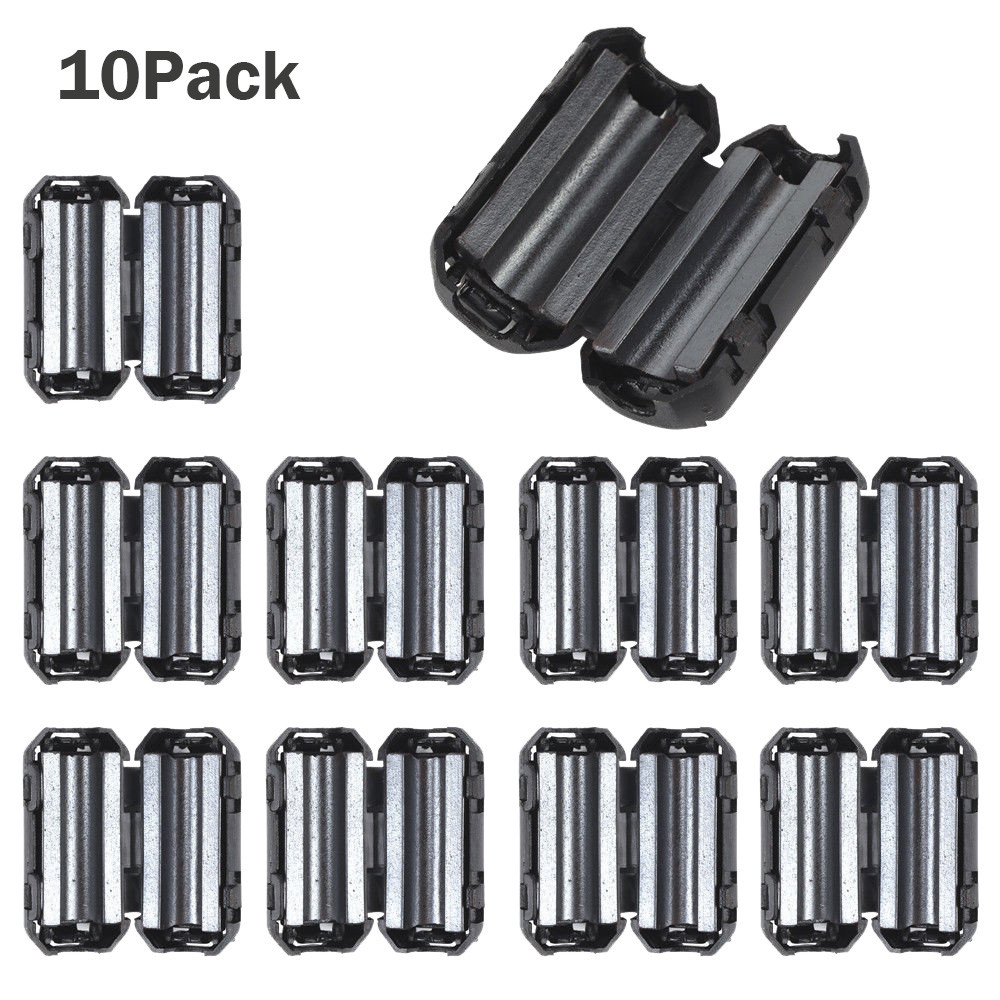10Pcs Black Cable Clip On Clamp Binder Clips RFI EMI Noise Filters Ferrite Core For 5mm Cable Wholesale Dropshipping