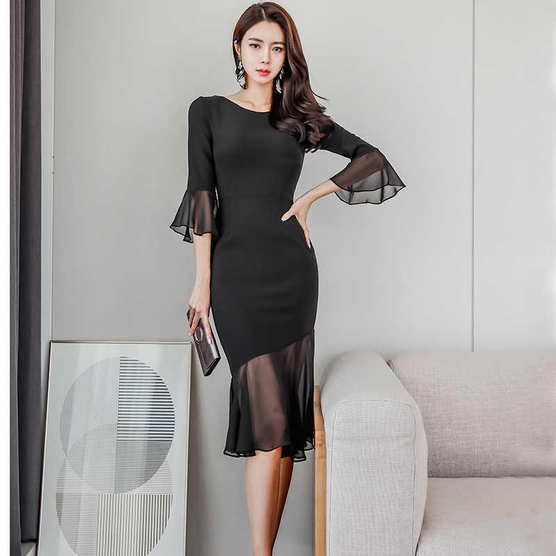 Сексуальное Сетчатое лоскутное облегающее женское платье, весна 2019, женские платья с расклешенными рукавами и оборками, элегантные OL стильные облегающие платья