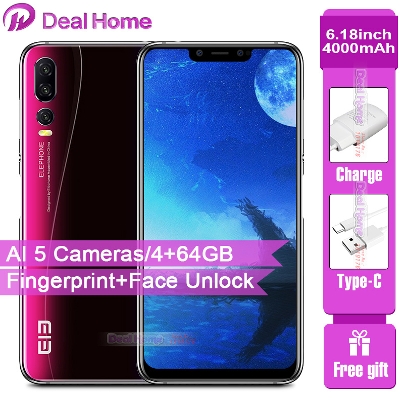 New Elephone A5 4G Smartphone AI 5 Cameras 6.18 4000mAh P60 MT6771 4GB+64GB Cellphone 12MP+20MP Fingerprint Face Unlock OTG