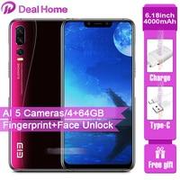 New Elephone A5 4G Smartphone AI 5 Cameras 6.18 4000mAh P60 MT6771 4GB+64GB Cellphone 12MP+20MP Fingerprint Face Unlock OTG