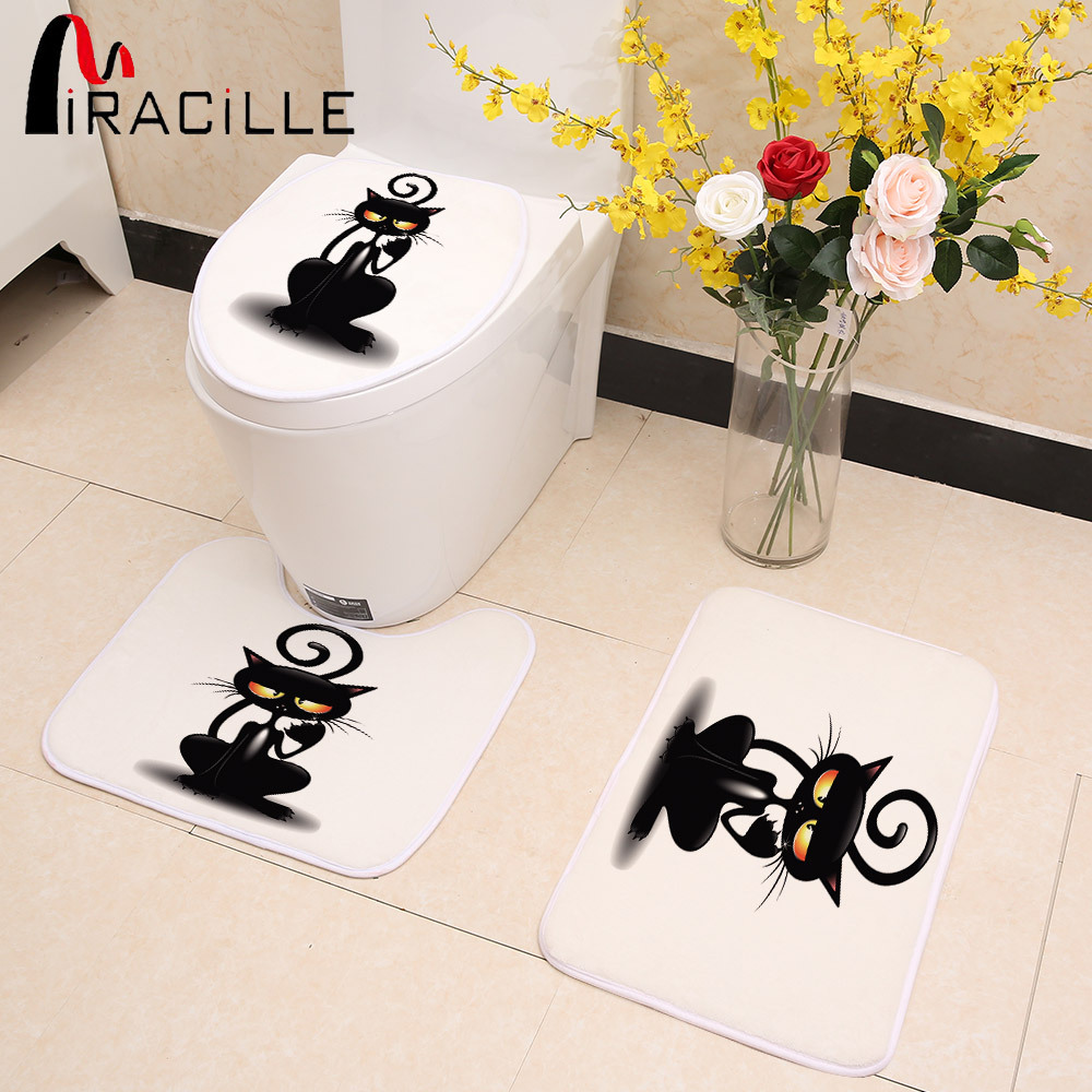 Miracille 3pcs/Set Cute Black Cat Pattern Bathroom Toilet Seat Cover Coral Fleece Door Mat Kitchen Non-slip Rugs Home Decor