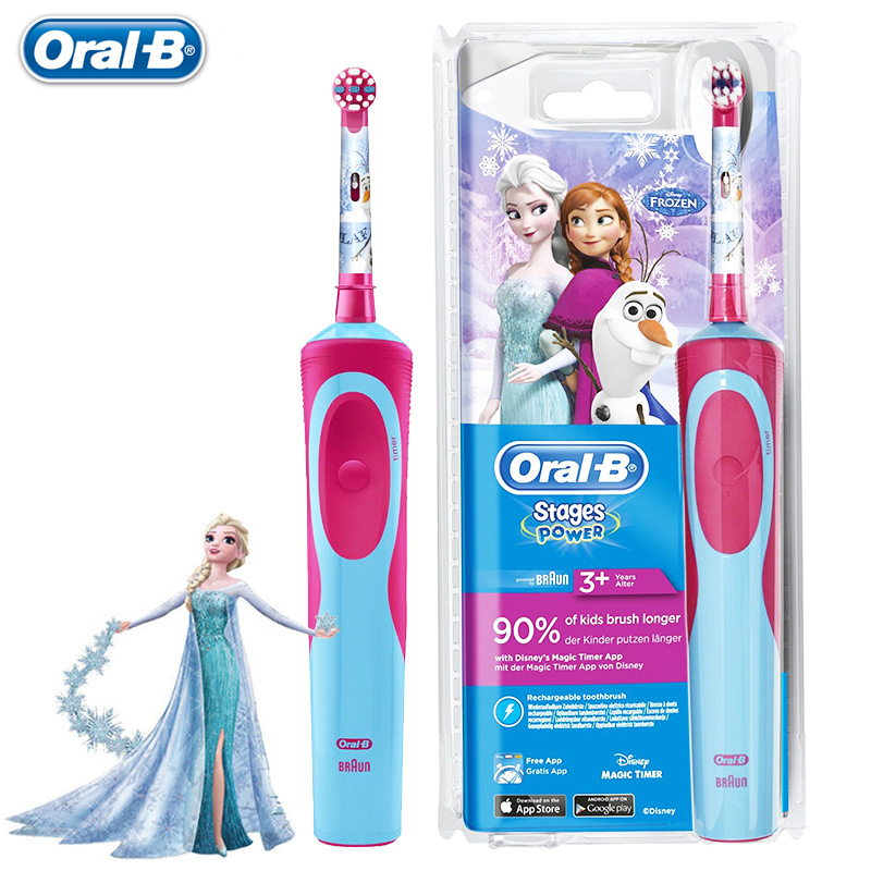 Oral B Children Electric Toothbrush Disney Frozen Type Oral Hygiene Waterproof Soft Bristle For Kids Magic 2 Minutes Timer image