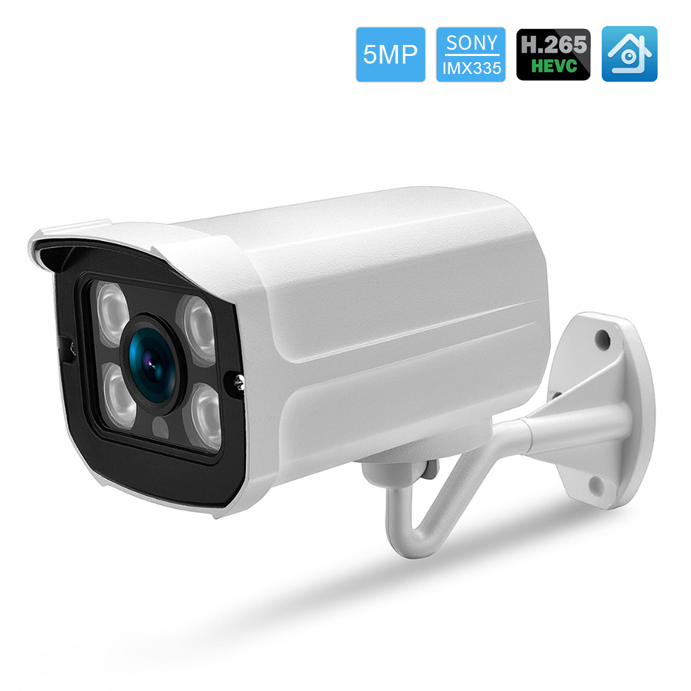 Hamrolte IP Camera Sony IMX335 Black Light 5MP Outdoor Camera 0.0001Lux Ultra Low Illumination Waterproof Email Alert Xmeye