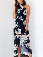 Fashion Summer Boho Navy Floral Print Halter Backless Front Split Maxi Dress Women Sexy Casual Sleeveless
